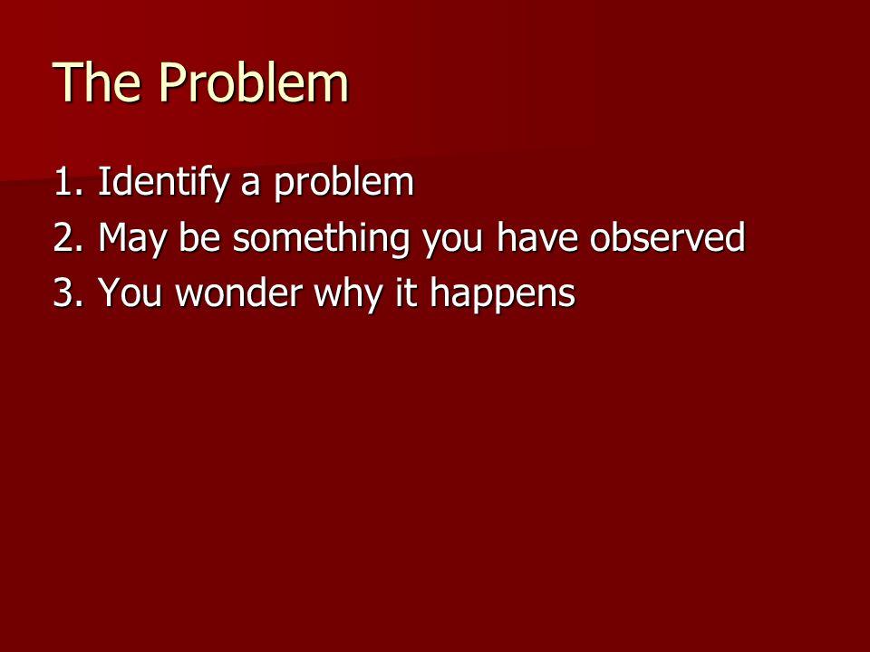 The Problem 1. Identify a problem