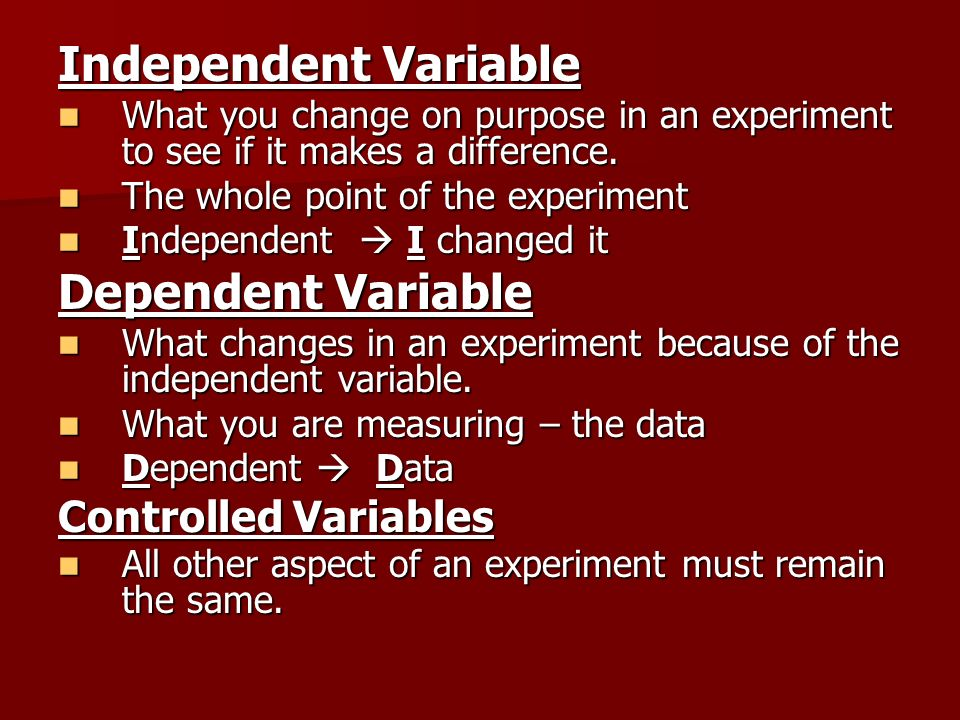Independent Variable Dependent Variable Controlled Variables