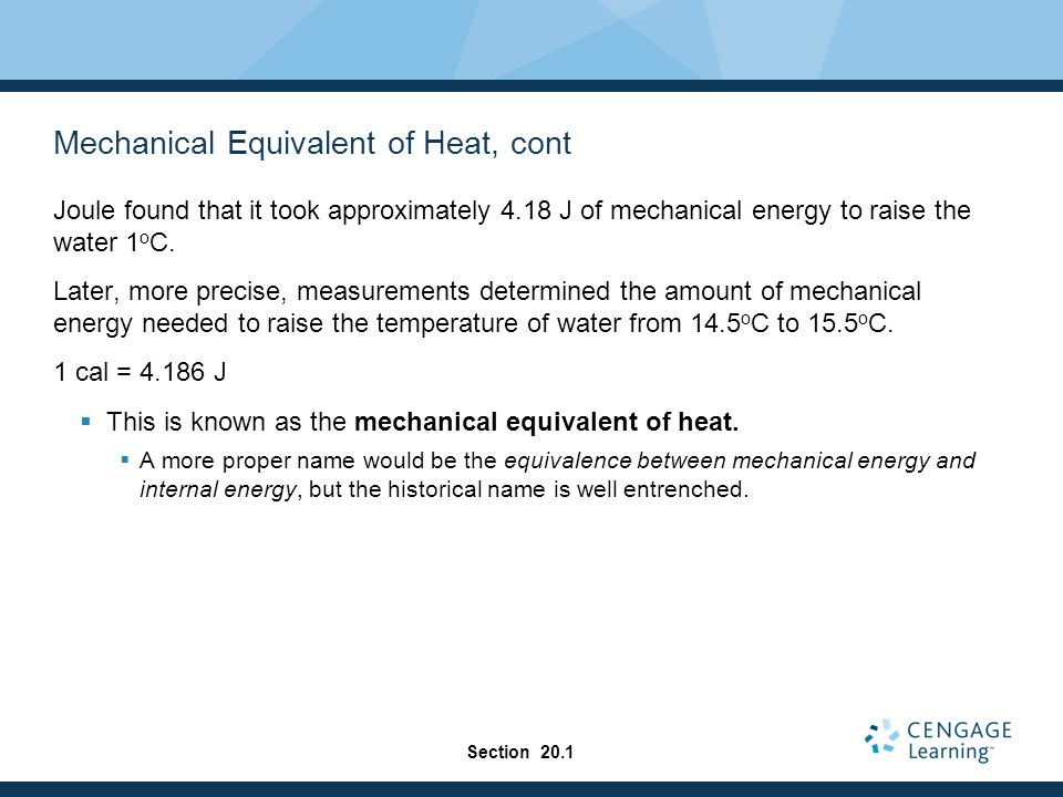 Mechanical Equivalent of Heat, cont