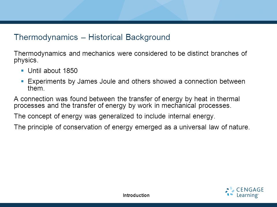 Thermodynamics – Historical Background