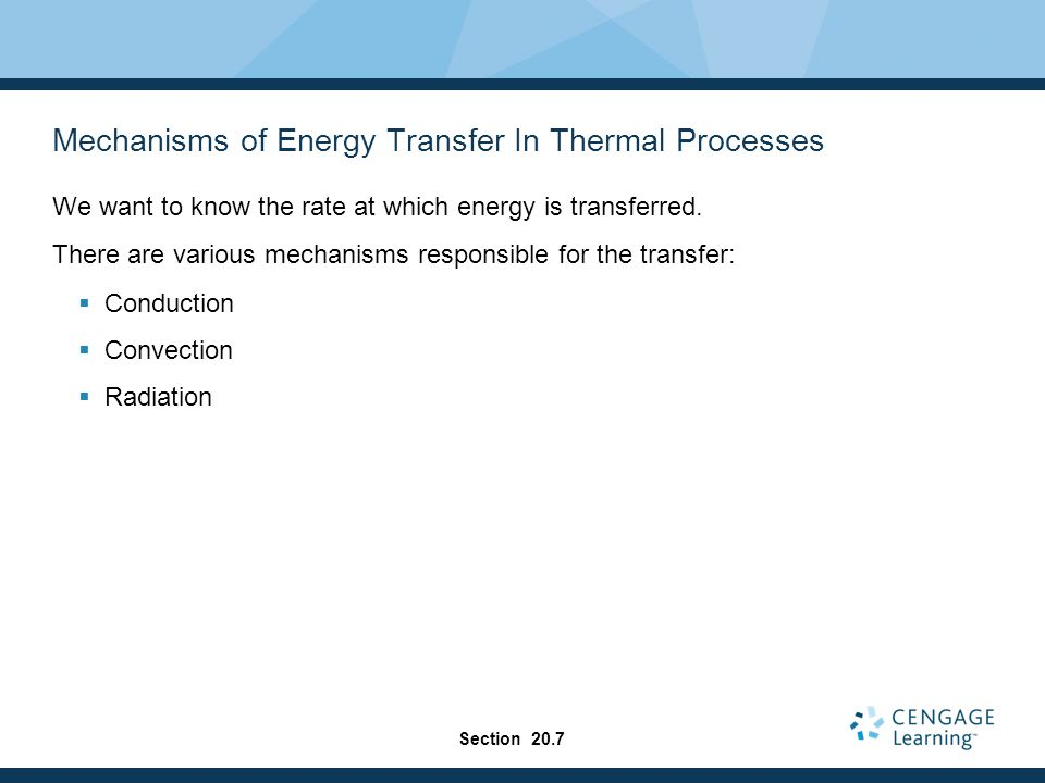 Mechanisms of Energy Transfer In Thermal Processes