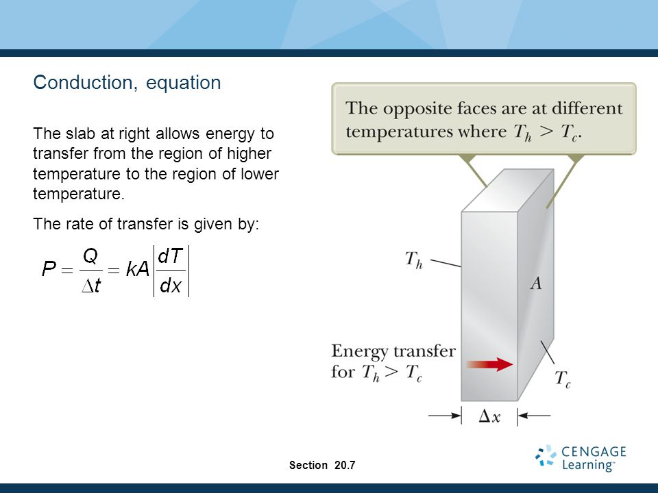 Conduction, equation The slab at right allows energy to transfer from the region of higher temperature to the region of lower temperature.