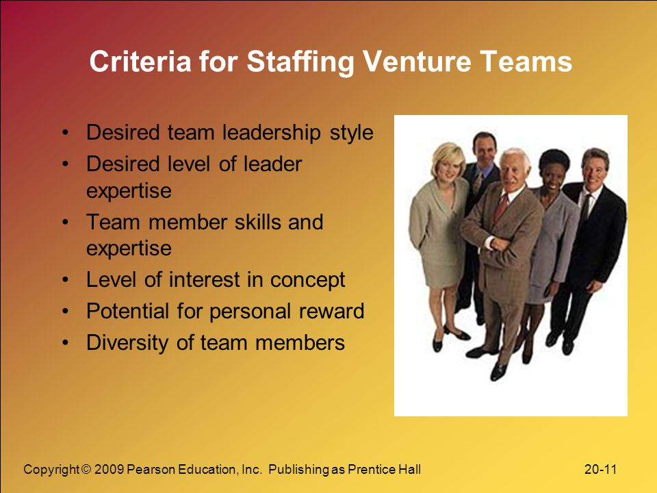 Criteria for Staffing Venture Teams