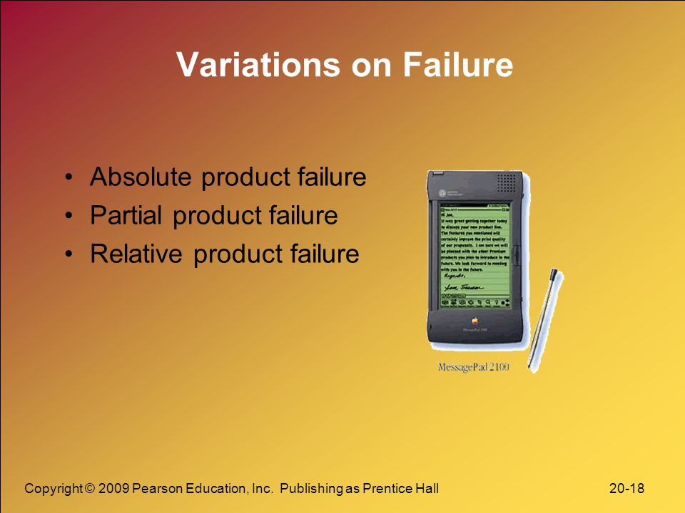 Variations on Failure Absolute product failure Partial product failure