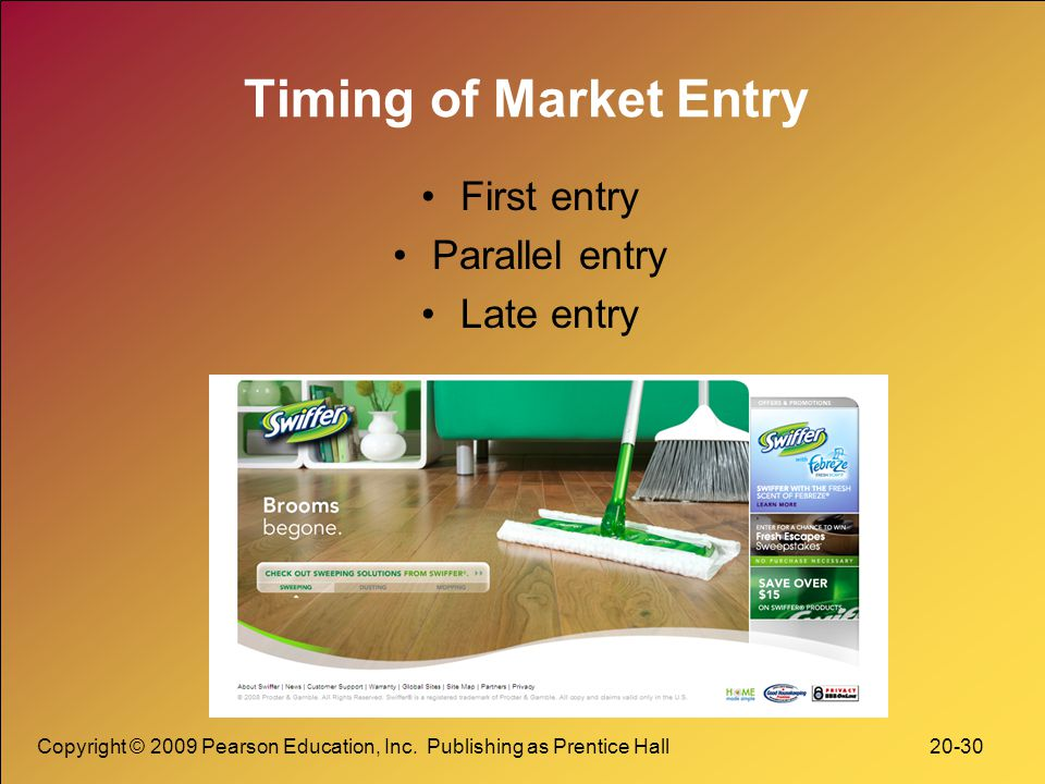 Timing of Market Entry First entry Parallel entry Late entry
