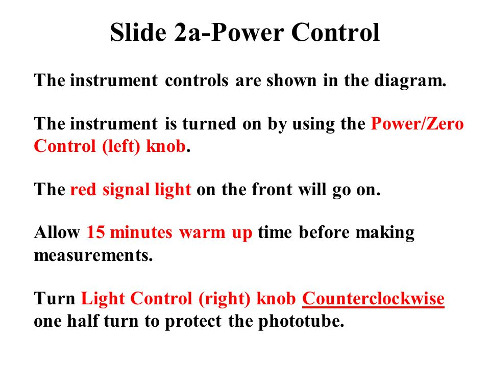 Slide 2a-Power Control The instrument controls are shown in the diagram. The instrument is turned on by using the Power/Zero Control (left) knob.