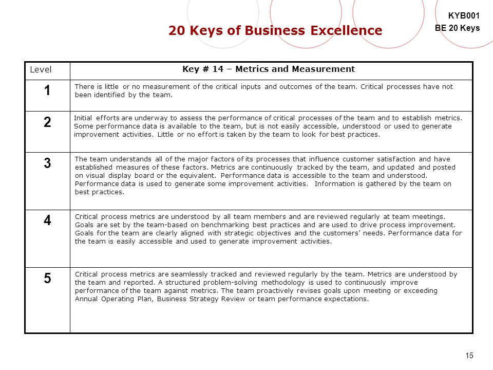 20 Keys of Business Excellence Key # 14 – Metrics and Measurement