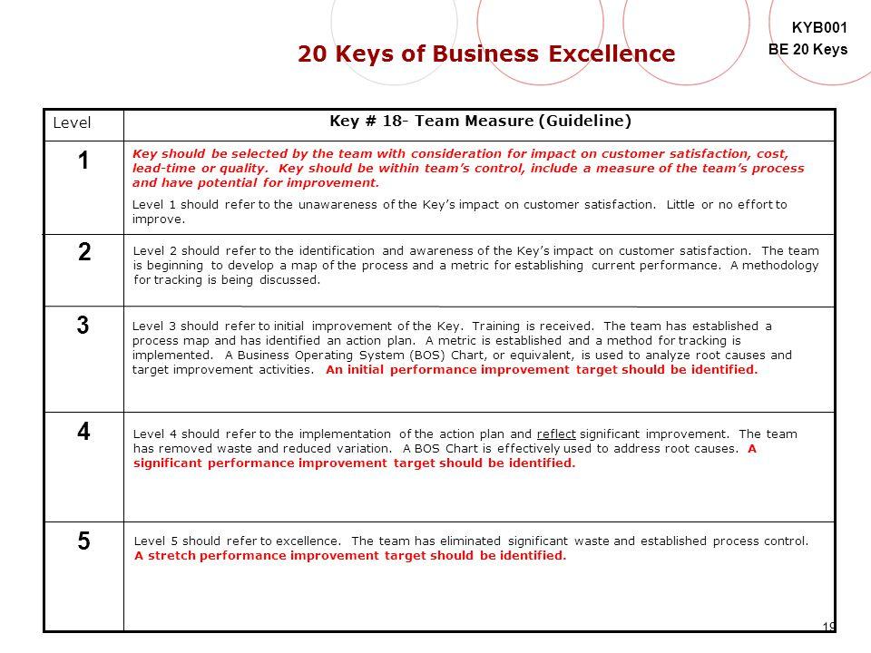 20 Keys of Business Excellence Key # 18- Team Measure (Guideline)