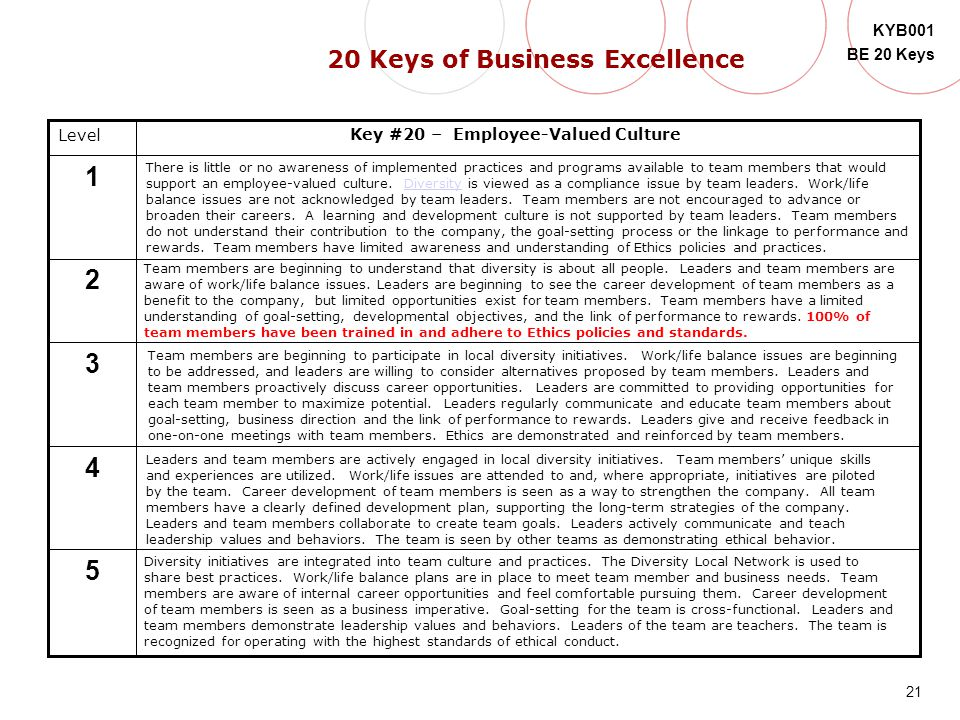 20 Keys of Business Excellence Key #20 – Employee-Valued Culture