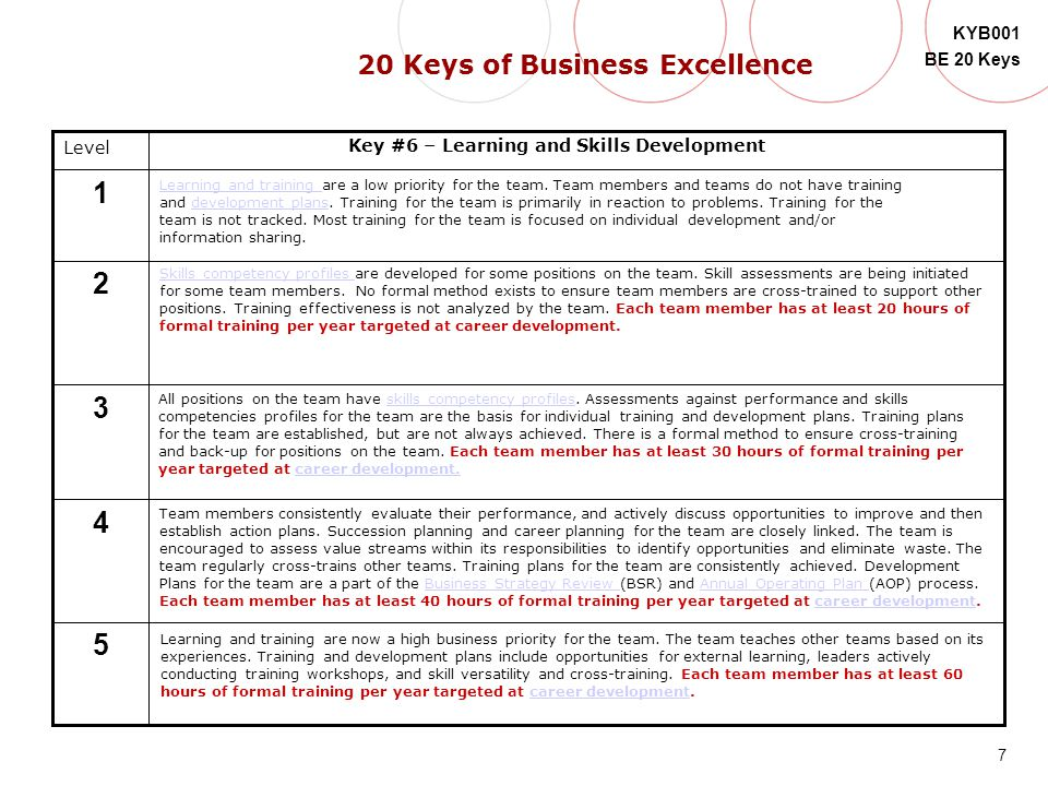 1 2 3 4 5 20 Keys of Business Excellence Level