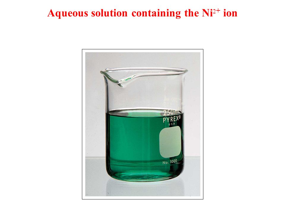 Aqueous solution containing the Ni2+ ion
