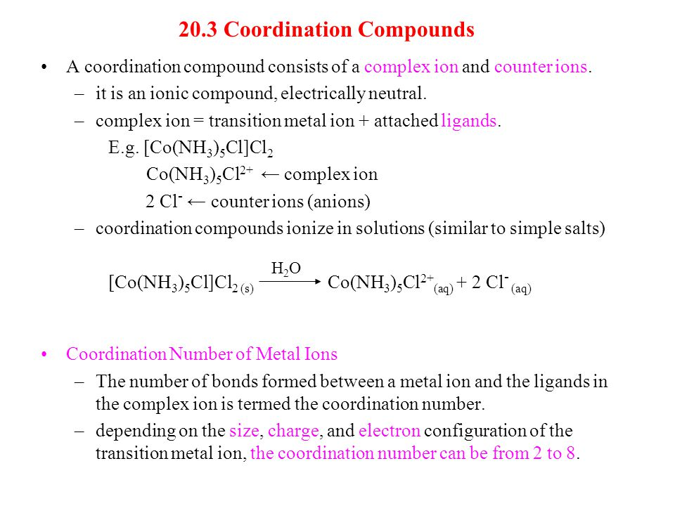 20.3 Coordination Compounds