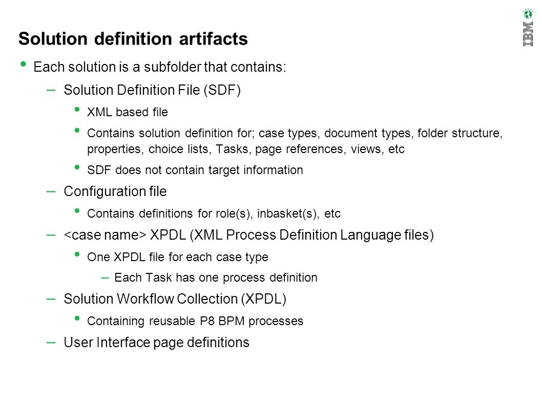 Solution definition artifacts
