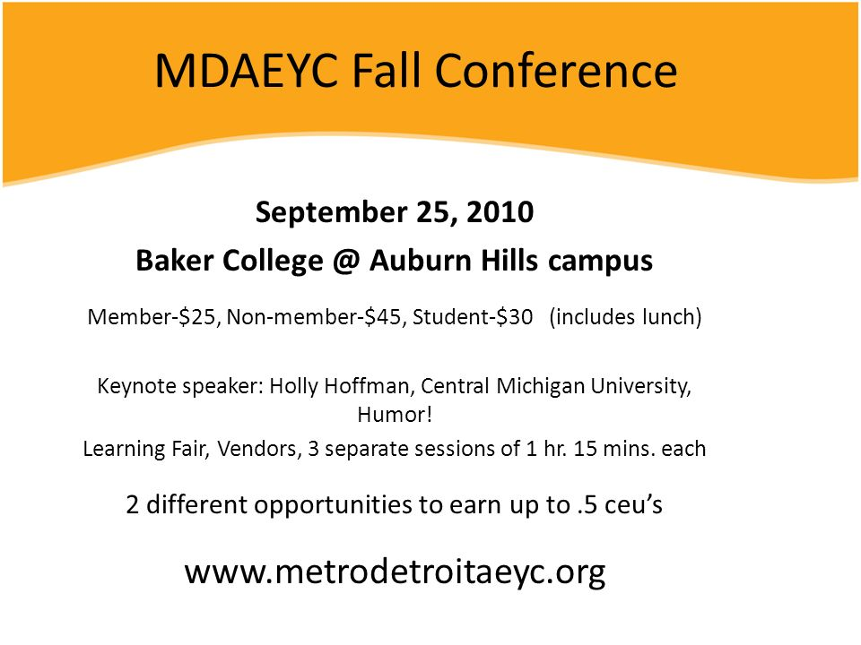 MDAEYC Fall Conference