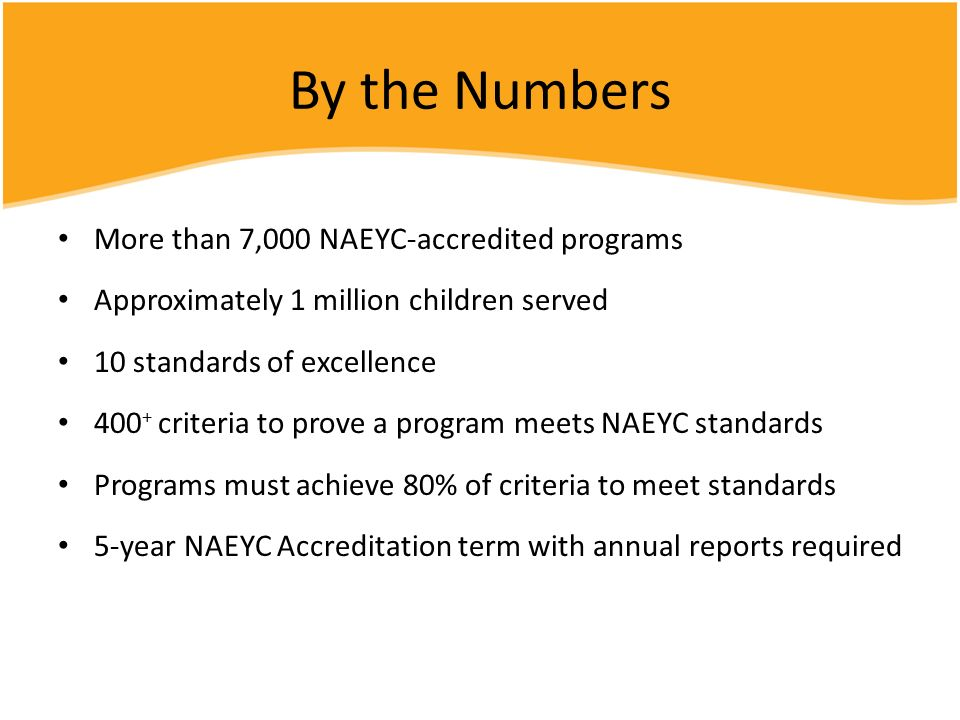 By the Numbers More than 7,000 NAEYC-accredited programs