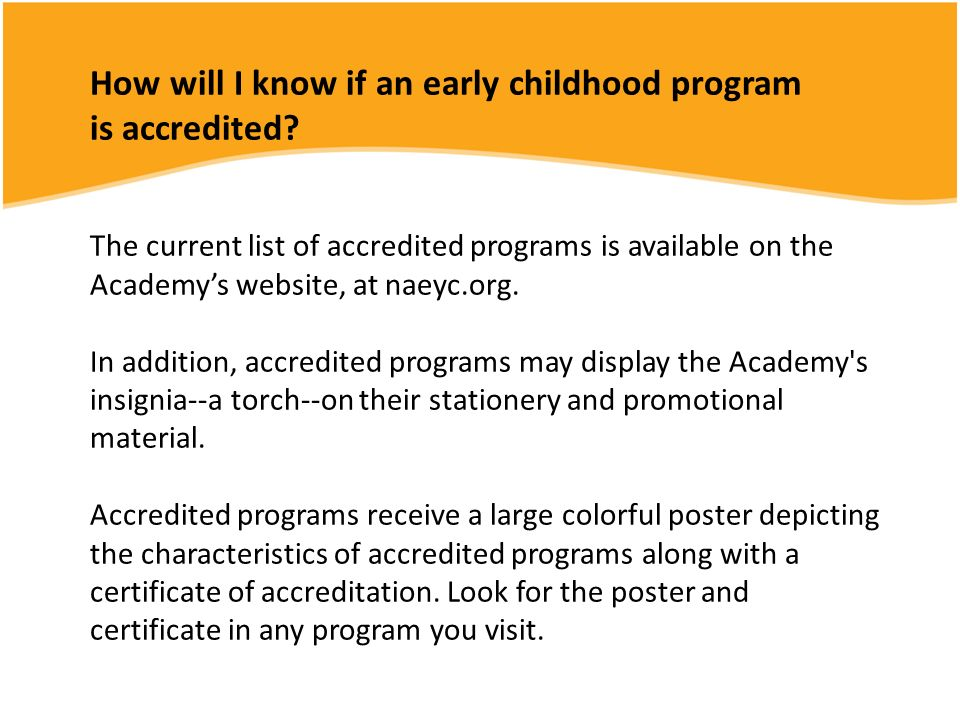 How will I know if an early childhood program is accredited