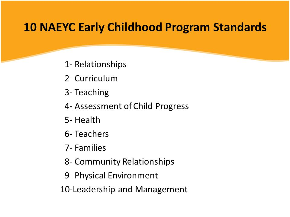 10 NAEYC Early Childhood Program Standards