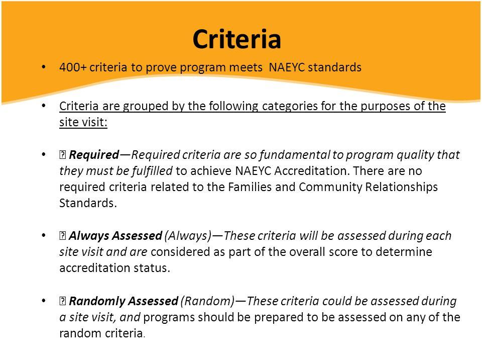 Criteria 400+ criteria to prove program meets NAEYC standards