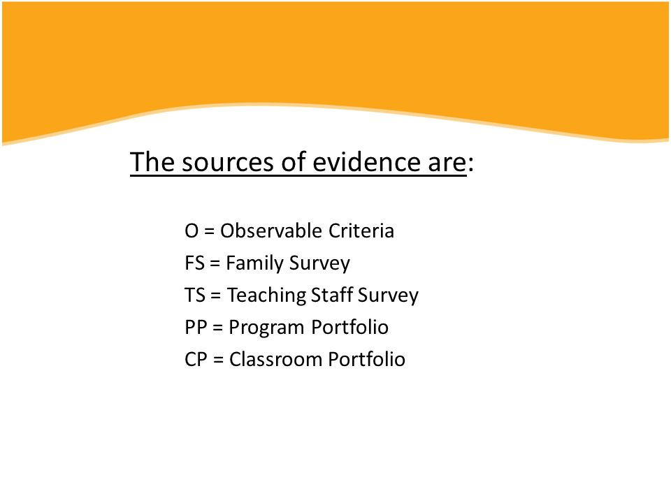 The sources of evidence are: