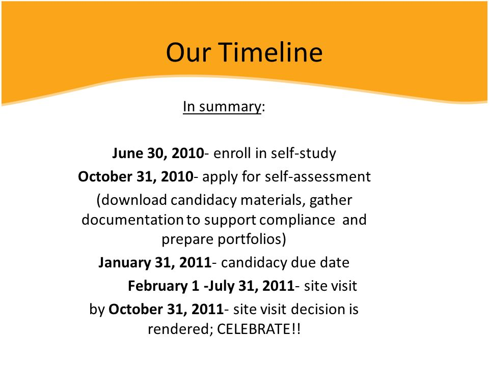Our Timeline In summary: June 30, 2010- enroll in self-study