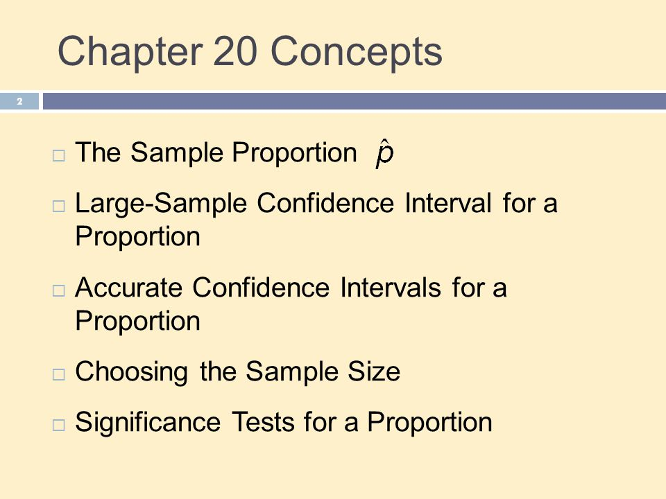 Chapter 20 Concepts The Sample Proportion