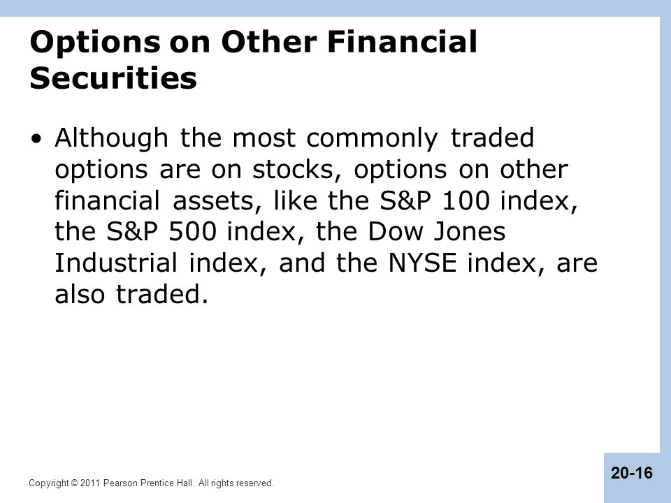 Options on Other Financial Securities