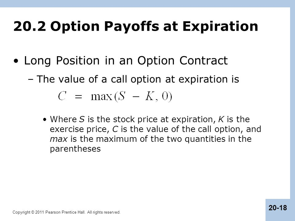20.2 Option Payoffs at Expiration