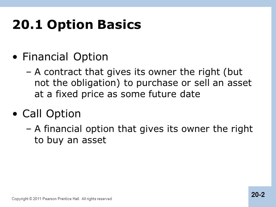 20.1 Option Basics Financial Option Call Option