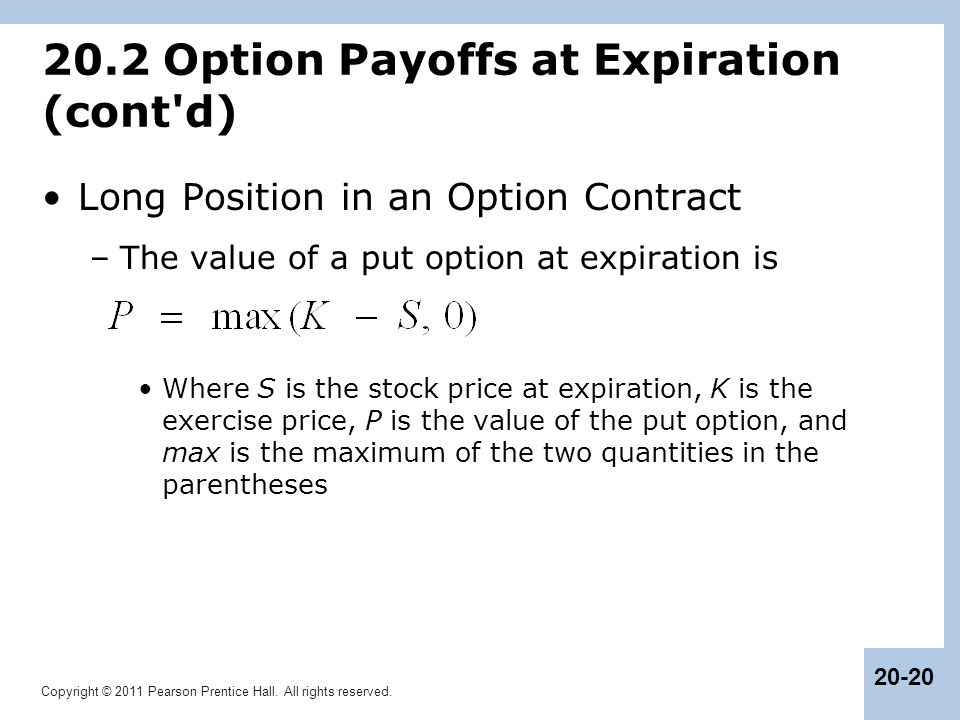 20.2 Option Payoffs at Expiration (cont d)