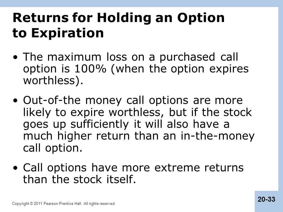 Returns for Holding an Option to Expiration
