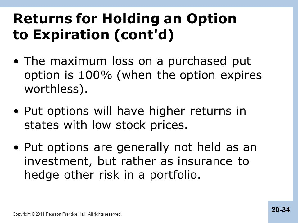 Returns for Holding an Option to Expiration (cont d)