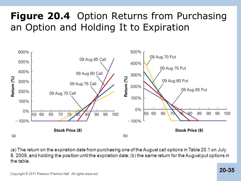 Figure 20.4 Option Returns from Purchasing an Option and Holding It to Expiration