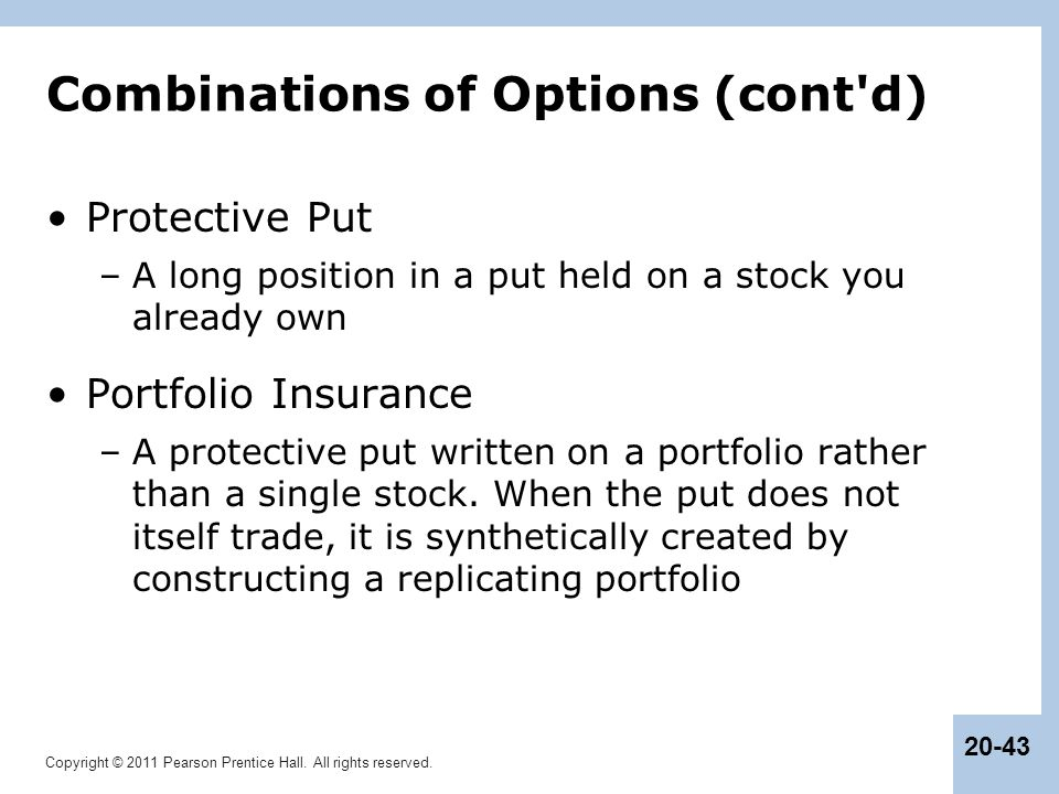 Combinations of Options (cont d)