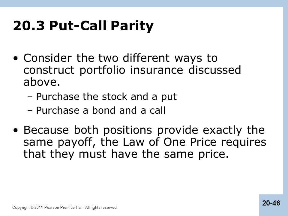 20.3 Put-Call Parity Consider the two different ways to construct portfolio insurance discussed above.