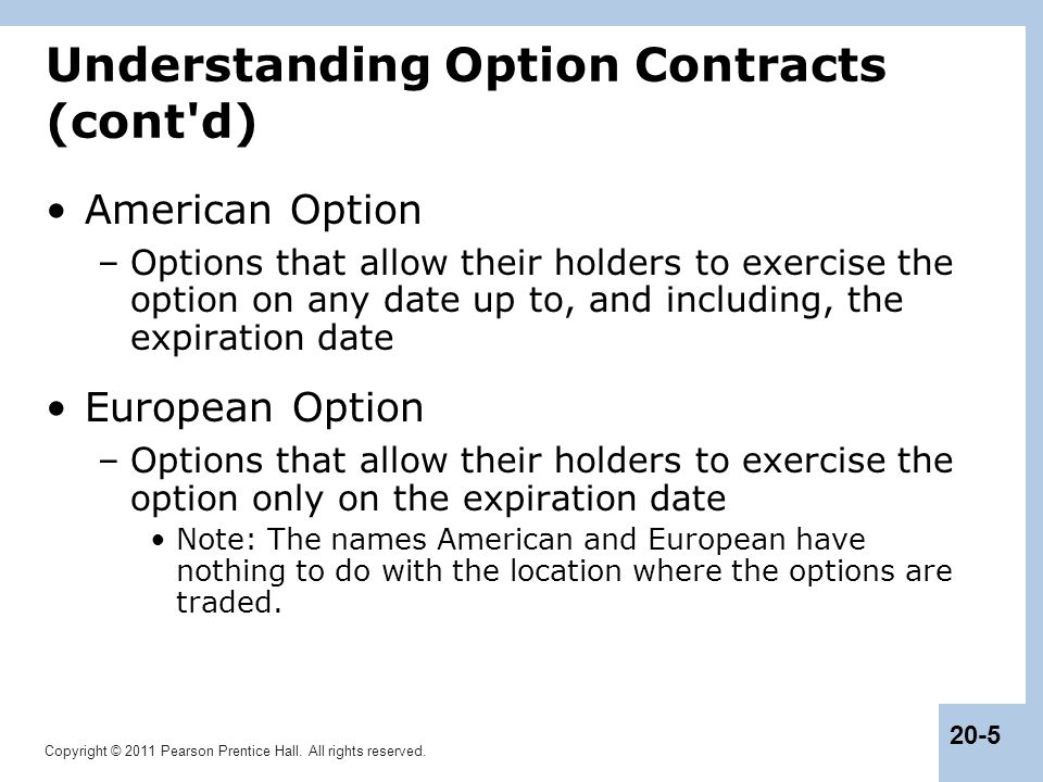 Understanding Option Contracts (cont d)