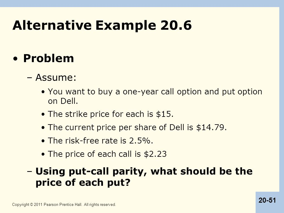 Alternative Example 20.6 Problem Assume: