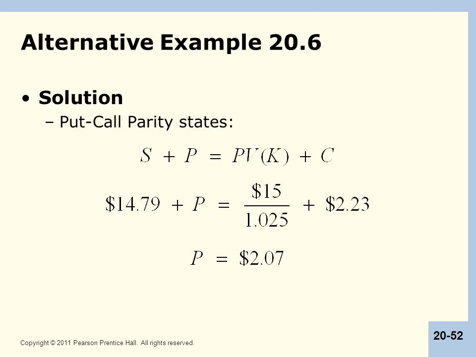 Alternative Example 20.6 Solution Put-Call Parity states: 52