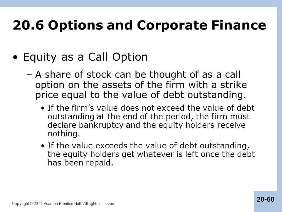 20.6 Options and Corporate Finance