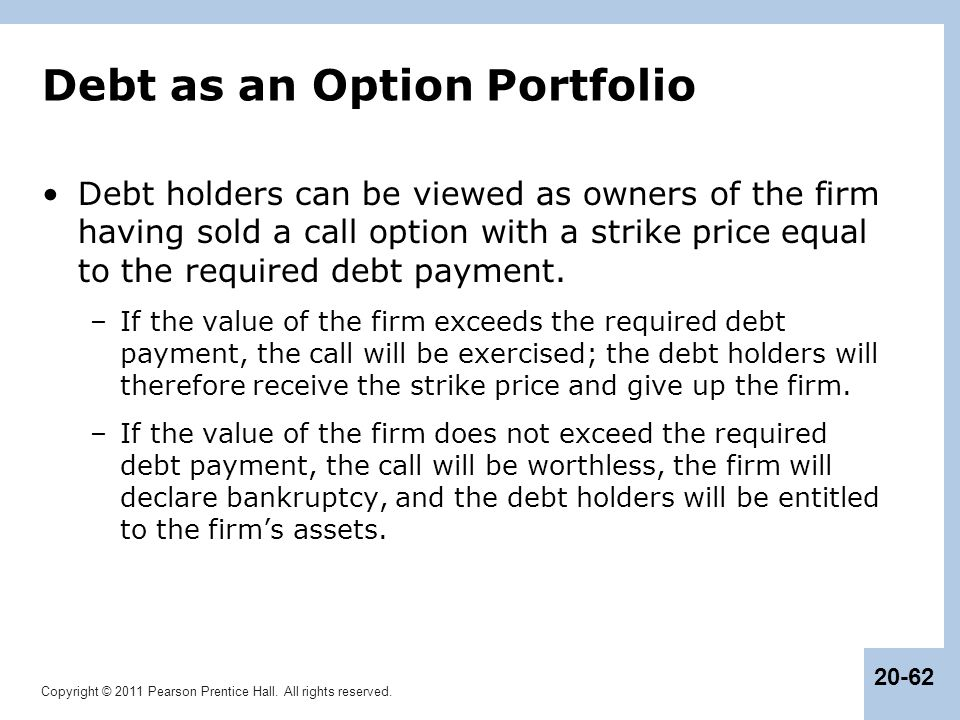 Debt as an Option Portfolio