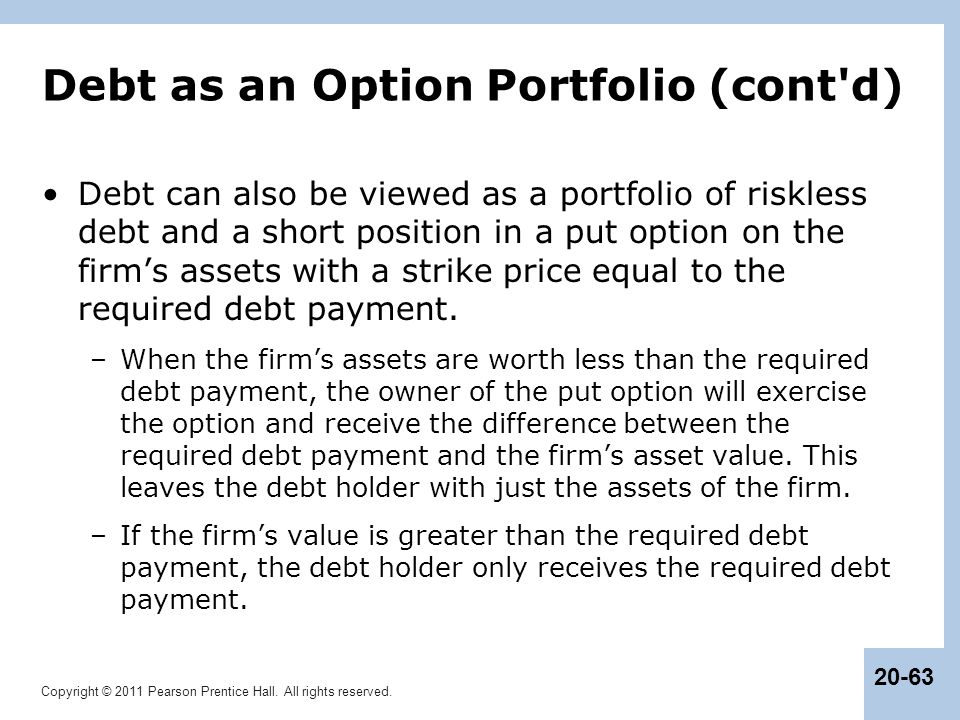 Debt as an Option Portfolio (cont d)