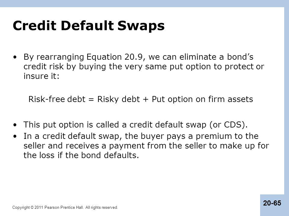 Risk-free debt = Risky debt + Put option on firm assets