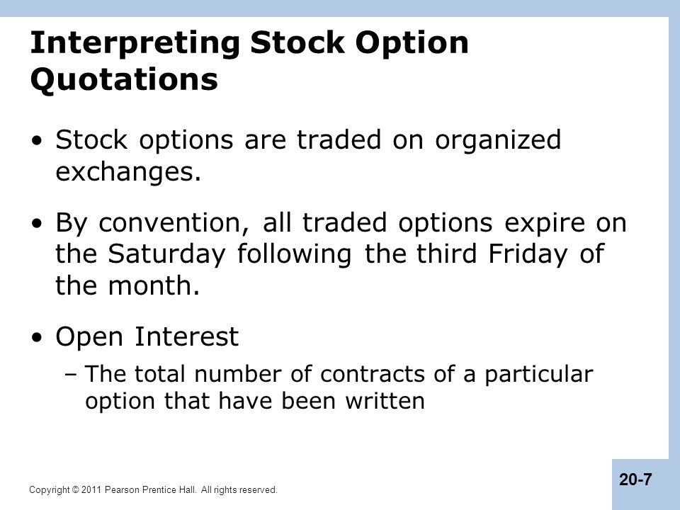 Interpreting Stock Option Quotations