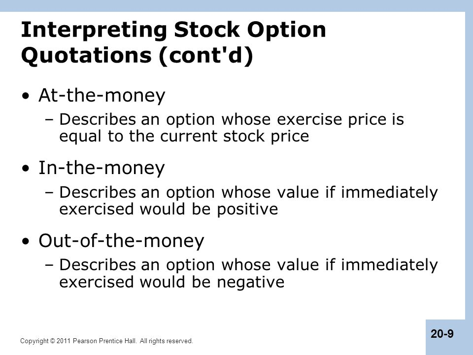 Interpreting Stock Option Quotations (cont d)