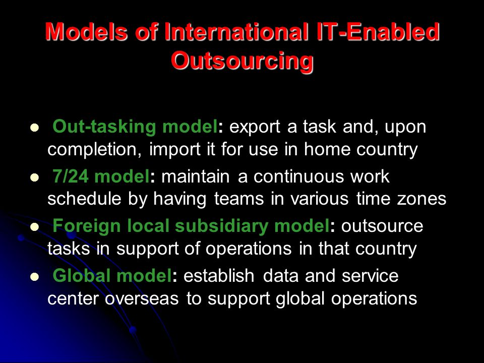 Models of International IT-Enabled Outsourcing