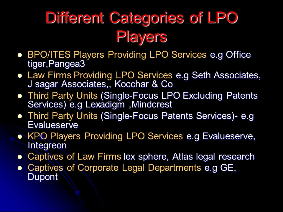 Different Categories of LPO Players