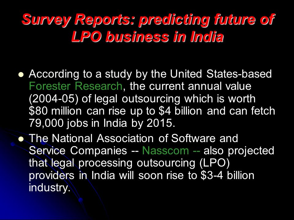 Survey Reports: predicting future of LPO business in India
