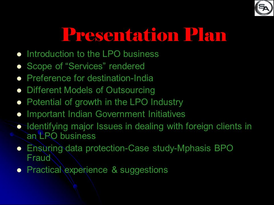 Presentation Plan Introduction to the LPO business