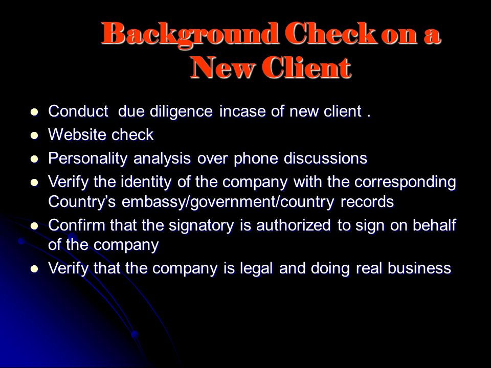 Background Check on a New Client