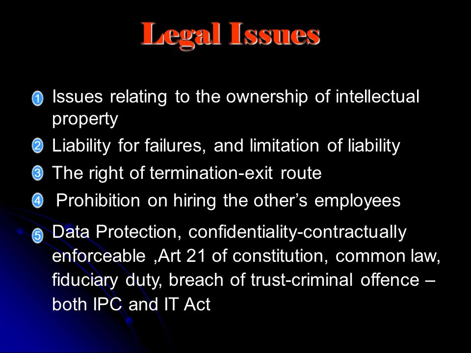 Legal Issues Issues relating to the ownership of intellectual property