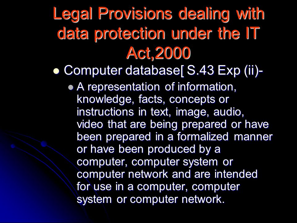 Legal Provisions dealing with data protection under the IT Act,2000